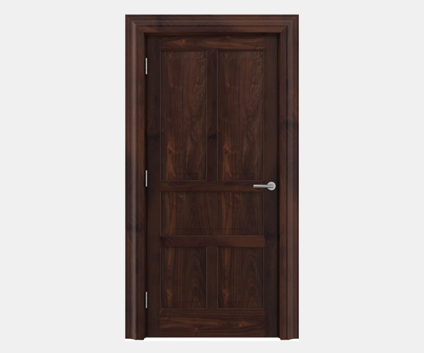 Shadbolt Timeless Type15 hardwood panelled door in American black walnut veneer